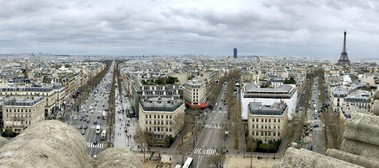 view from arc du triumphe in paris